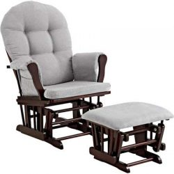 Windsor Glider and Ottoman – Espresso Finish and Gray Cushions