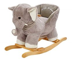 ROCK MY BABY Baby Rocking Horse Elephant with Chair,Plush Stuffed Rocking Animals,Wooden Rocking ...
