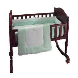 bkb Ric Rac Cradle Bedding, Green, 18″ X 36″