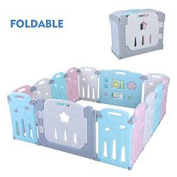 POTBY Star Pattern Foldable Baby Playpen 14 Panel Activity Center Safety Playard, Free Installat ...