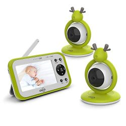 LBtechVideo Baby Monitor with Two Digital Cameras,4.3″LCD Display,Automatic Night Vision, ...