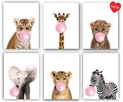 Designs by Maria Inc. Safari Pink Bubblegum Baby Animals Nursery Decor Art – Set of 6 (UNF ...