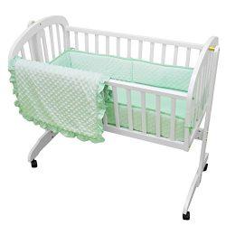 American Baby Company 3 Piece Heavenly Soft Cradle Bedding Set, Minky Dot, Mint