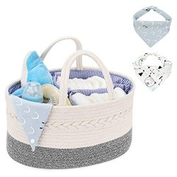 Magicfly Cotton Rope Baby Diaper Caddy Organizer with 2 Bibs, Portable Nursery Storage Bins for  ...