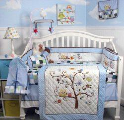 SoHo Baby Crib Bedding 10Pc Set, Blue Cherry Tree