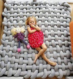 Baby Knot Plush Sleeping Mat, Handmade Soft Cotton Square Play Mat Nursery Rug, Nursery Decor Fl ...