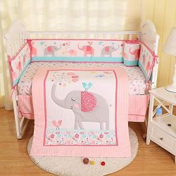 Hamkaw 7 Pieces Nursery Crib Bedding Set,Unisex Baby Cradle Bedding Set Nursery Decor with 4Pcs  ...