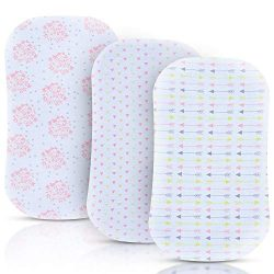 Bassinet Sheets for Baby Girl, 3 Pack Jersey Cotton Cradle Fitted Sheets, Baby Bedding Sheet Set ...