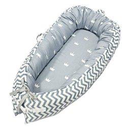 Abreeze Baby Bassinet for Bed -Crown Grey Baby Lounger – Breathable & Hypoallergenic C ...