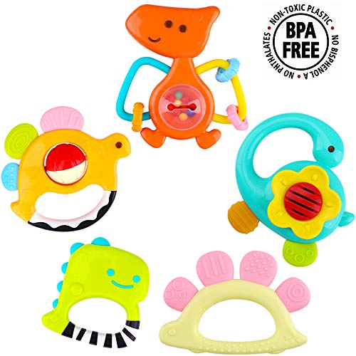 iPlay, iLearn 5 Dinosaur Baby Rattles, Teether, Shaker, Grab and Spin Rattle, Musical Toy Set, E ...