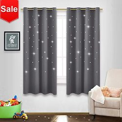 NICETOWN Gray Stars Kids Curtains – Nap time Essential Nursery Window Curtains for KidR ...