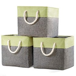 Prandom Large Foldable Cube Storage Baskets Bins 13×13 inch [3-Pack] Fabric Linen Collapsib ...
