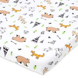 Bassinet Sheet For Boys, Girls by Cuddly Cubs   Soft, Breathable, Pure Jersey Cotton   Fitted El ...