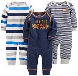 Simple Joys by Carter's Baby Boys' 3-Pack Jumpsuits, Gray, Multi Stripe, Navy Stripe ...