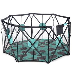 Milliard X-Large 8 Panel Playpen Portable Playard with Cushioning for Safety, for Travel, Indoor ...