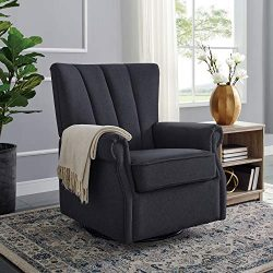 Classic Brands David & John Popstitch Upholstered Glider Swivel Rocker Chair, Charcoal