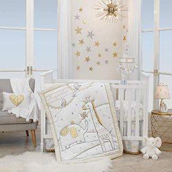 Lambs & Ivy Signature Jamboree 3-Piece Crib Bedding Set – Gray, Gold, White