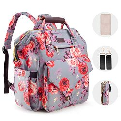 Diaper Bag Backpack, Kaome Large Capacity Nappy Bags, Waterproof Baby Bag Floral Insulated Durab ...