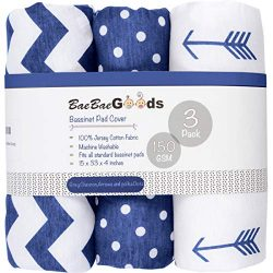 Bassinet Sheet Set | Cradle Fitted Sheets for Bassinet Mattress/Pads | Super Soft Jersey Knit Co ...