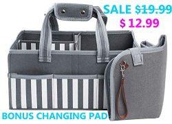 Kids Paradise Baby Diaper Caddy Organizer with Bonus Changing Pad, Large Portable Nursery Storag ...
