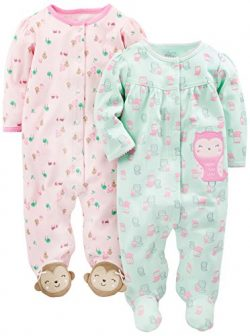 Simple Joys by Carter's Baby Girls' 2-Pack Cotton Footed Sleep and Play, Owl/Monkey, ...