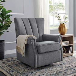 Classic Brands David & John Popstitch Upholstered Glider Swivel Rocker Chair, Grey