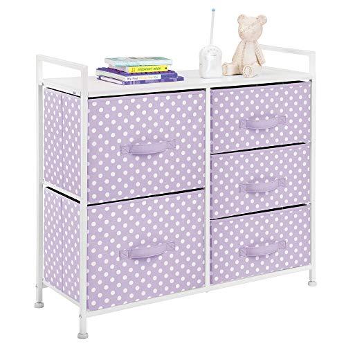mDesign Wide Dresser 5 Drawers Storage Furniture – Wood Top, Easy Pull Fabric Bins – ...