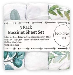 NODNAL CO. Leafy Bassinet Fitted Sheet Set 3 Pack 100% Jersey Cotton for Baby Girl/Boy – G ...