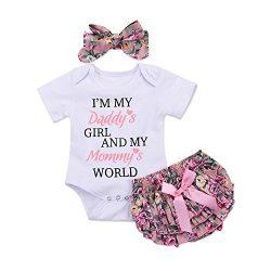 Catpapa 3PCS Newborn Baby Girl Romper Jumpsuit Bodysuit +Pants Shorts+Headband Outfit Set (White ...