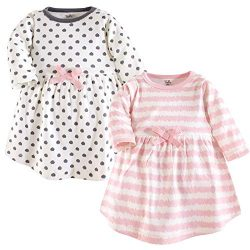 Touched by Nature Baby Girls' Organic Cotton Dresses, Pink Scribble Long Sleeve 2 Pack, 6- ...