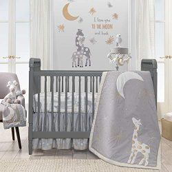 Lambs & Ivy Goodnight Giraffe Gray/White Celestial 5-Piece Baby Crib Bedding Set