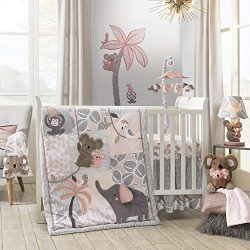 Lambs & Ivy Calypso 4-Piece Crib Bedding Set – Pink, Gray, Gold, Animals, Jungle