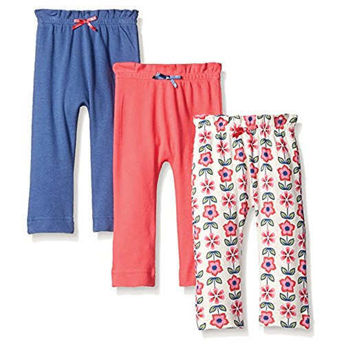 Touched by Nature Baby Organic Cotton Pants, Flower 3Pk, 0-3 Months (3M)