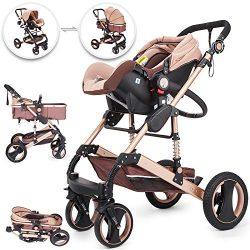 Happybuy 3 in 1 Stroller Khaki Foldable Luxury Baby Stroller Anti-Shock Springs High View Pram B ...