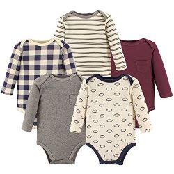 Hudson Baby Unisex Baby Long Sleeve Cotton Bodysuits, Football Long Sleeve 5 Pack, 9-12 Months (12M)