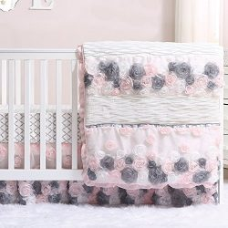 Colette Pink and Grey Floral 5 Piece Crib Bedding Set by The Peanut Shell