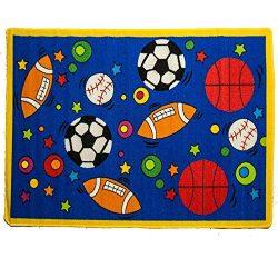 Kids Rug Sport Blue Area Rug 5′ x 7′ Children Area Rug for Playroom & Nursery &# ...