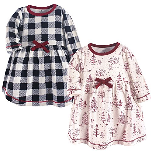 Touched by Nature Baby Girls' Organic Cotton Dresses, Winter Woodland Long Sleeve 2 Pack,  ...