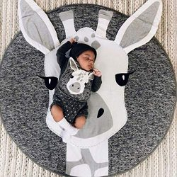 YWTB Round Giraffe Rug Carpet Cotton for Baby Floor Play mats Nursery Kids Room Decoration Diame ...