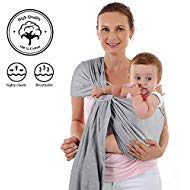 4 in 1 Baby Wrap Carrier and Ring Sling – Charcoal Gray Cotton – Use as a Postpartum ...