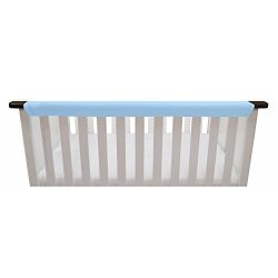 Go Mama Go Organic Teething Guard Protects Baby and Crib, Blue/White, 52″x 12″