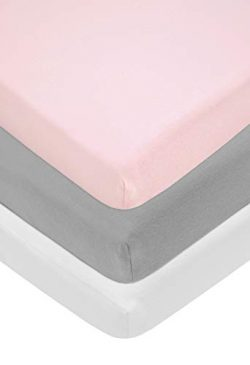 American Baby Company 100% Natural Cotton Jersey Knit Fitted Bassinet Sheet, Pink/Gray/White, (P ...
