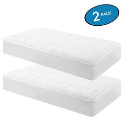 MoMA Waterproof Crib Mattress Cover (Set of 2, Parallel Waves) – 52″x 28″ Whit ...