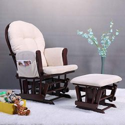 BowBack Baby Rocker Nursery Furniture Glider and Ottoman Chair with Cushions Beech Wood Nursing  ...