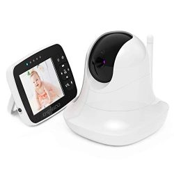 CACAGOO Video Baby Monitor with Remote Camera Pan-Tilt-Zoom, 3.5″ Color LCD Screen, Temper ...