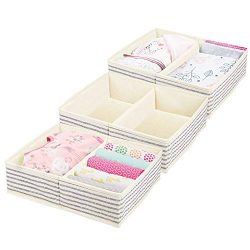 mDesign Large Soft Fabric Dresser Drawer and Closet Storage Organizer Set for Baby Room/Nursery, ...