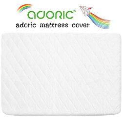 Adoric Waterproof Crib Mattress Pad Cover, Premium Crib Mattress Protector with Breathable Bambo ...