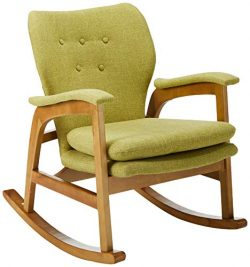 Christopher Knight Home Bethany Mid Century Fabric Rocking Chair (Muted Green), Light Walnut