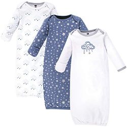Hudson Baby Baby Cotton Gowns, Cloud Mobile Blue 3 Pack, 0-6 Months