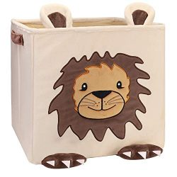 Lion Toy Storage Bins,Chener Plush Toy Boxes for Kids Smell Free Velvet Cube Organizer 12.6 in C ...